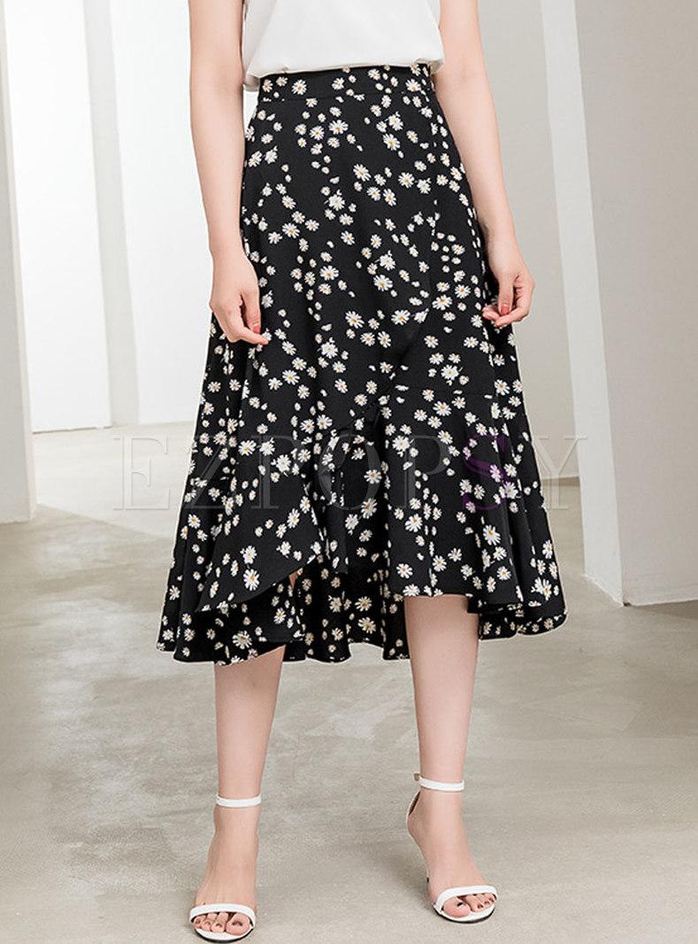 High Waisted Floral A Line Midi Skirt