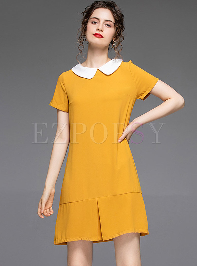 Color-blocked Lapel Loose Shift Dress