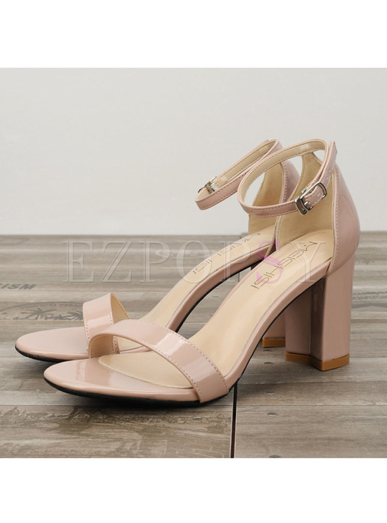 Round Toe Patent Leather Chunky Heel Sandals