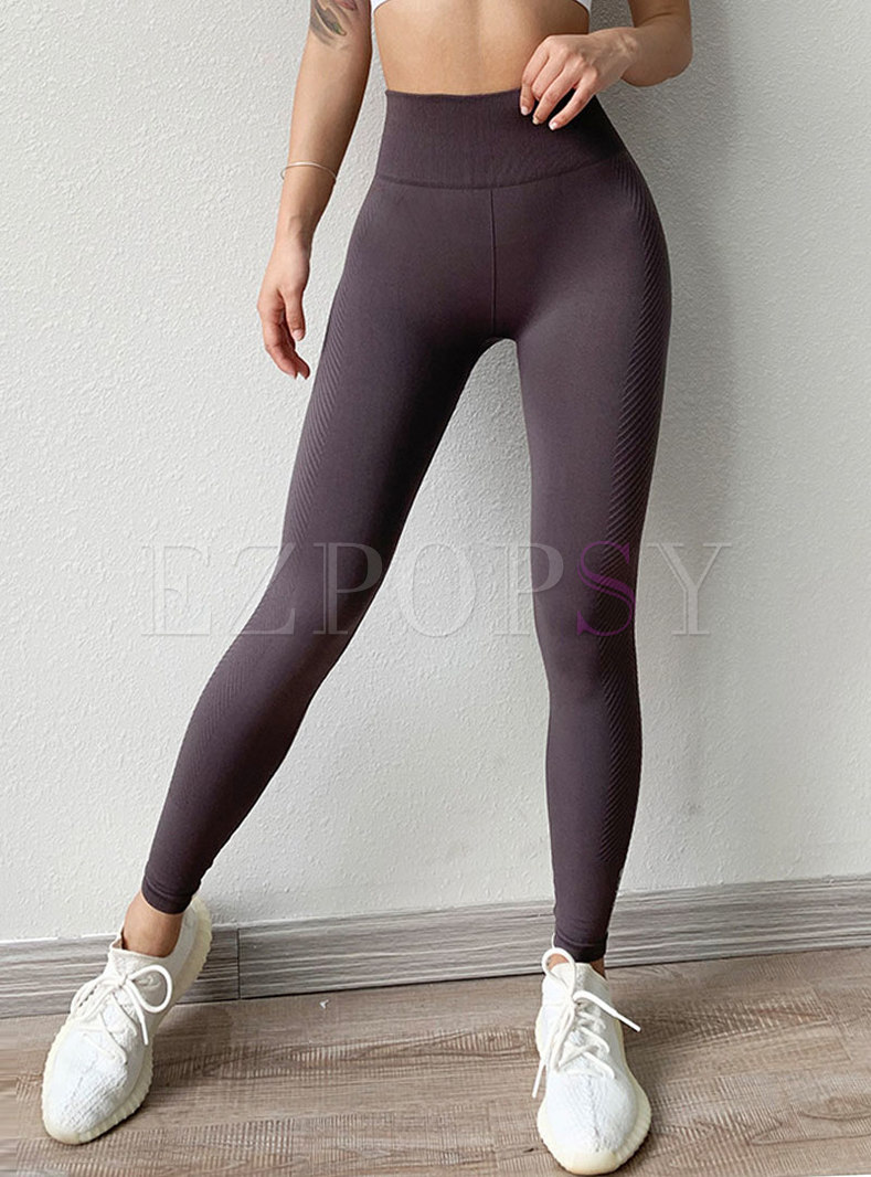 High Waisted Pure Color Tight Yoga Pants