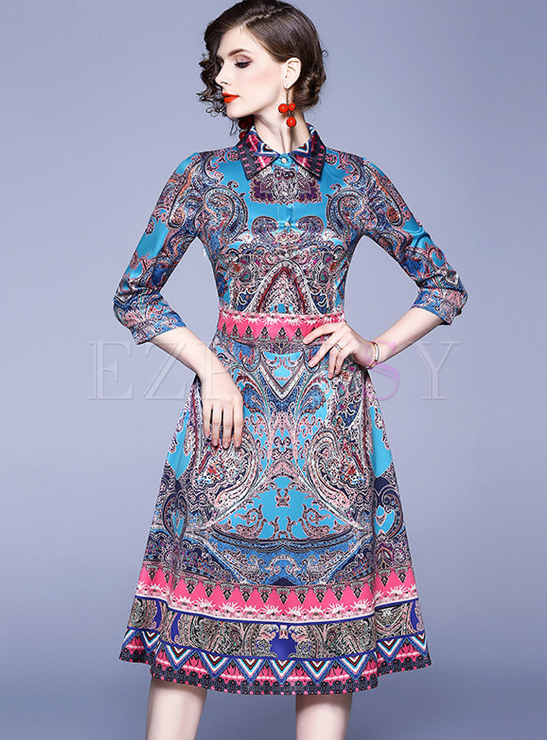 Three Quarters Sleeve Print Knee-length Dress
