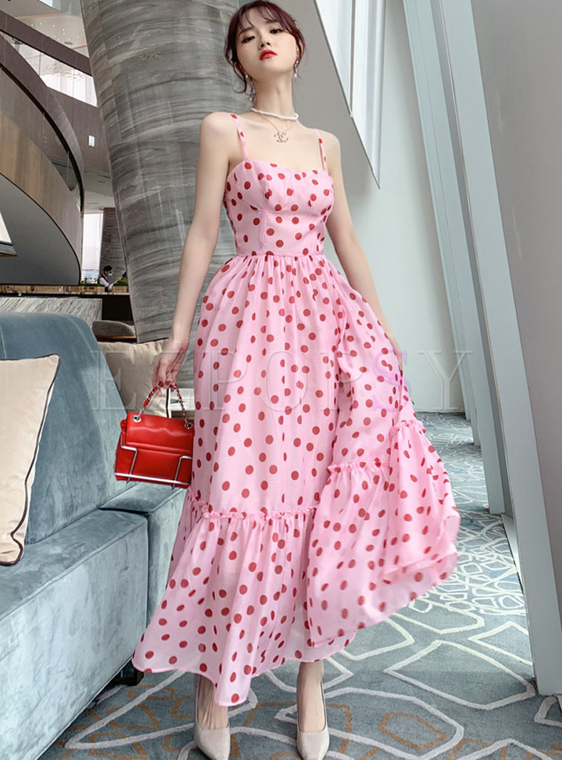 Off Shoulder Polka Dot Big Hem Beach Sun Dress