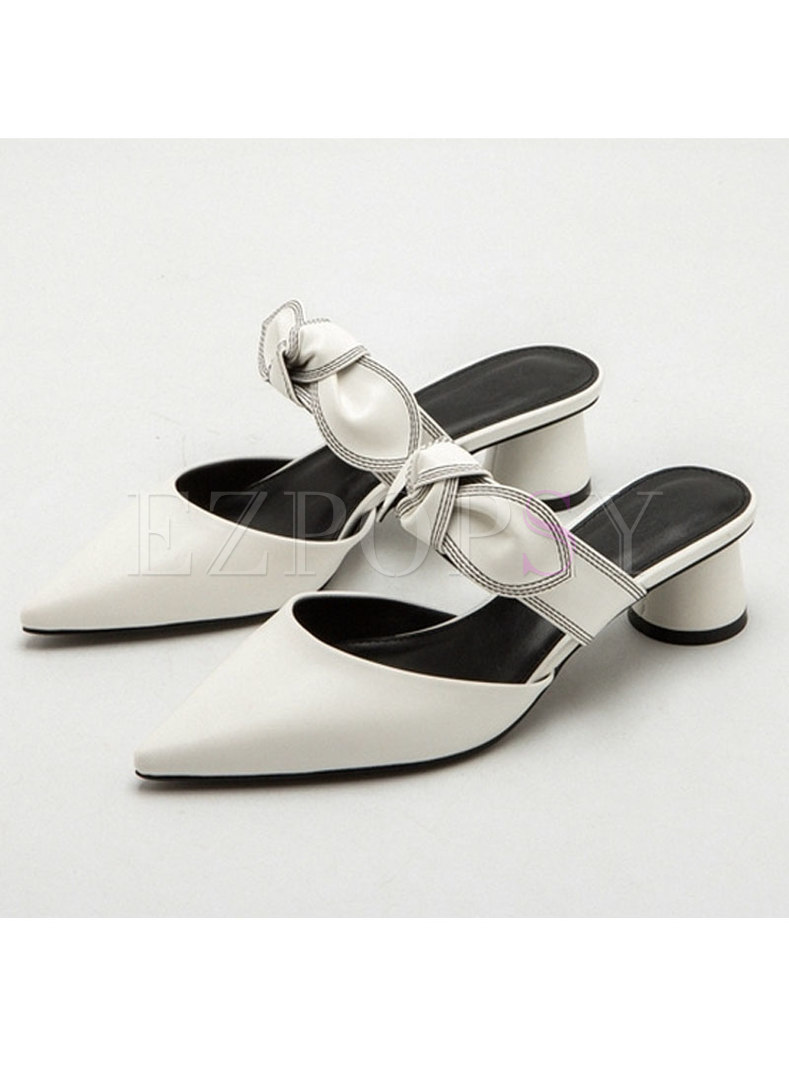 Flock Pointed Toe Bowknot Chunky Heel Slippers