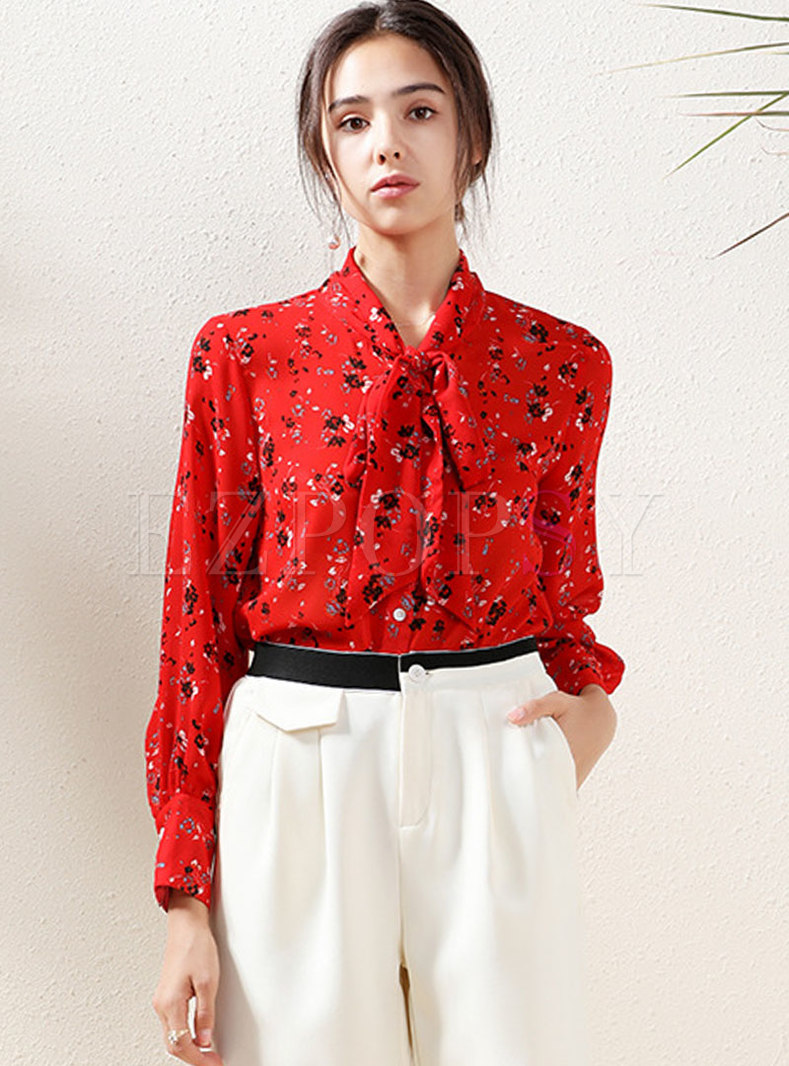 Mock Neck Long Sleeve Floral Chiffon Blouse