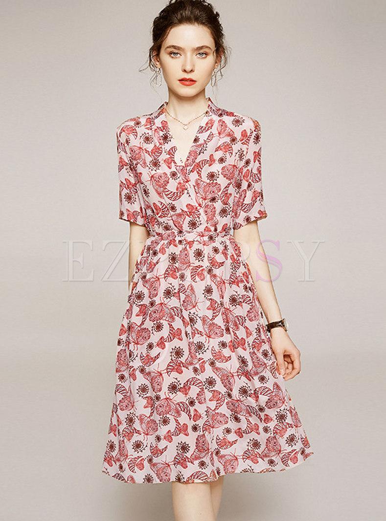 V-neck Floral Silk A Line Knee-length Dress