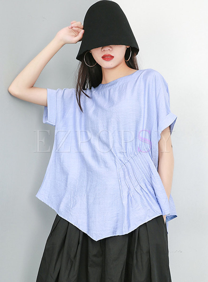 Plus Size Short Sleeve Pullover Asymmetric T-shirt