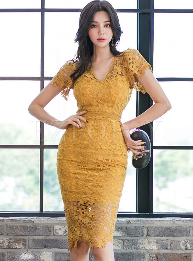 Lace Openwork Sexy V-neck Sheath Slit Dress