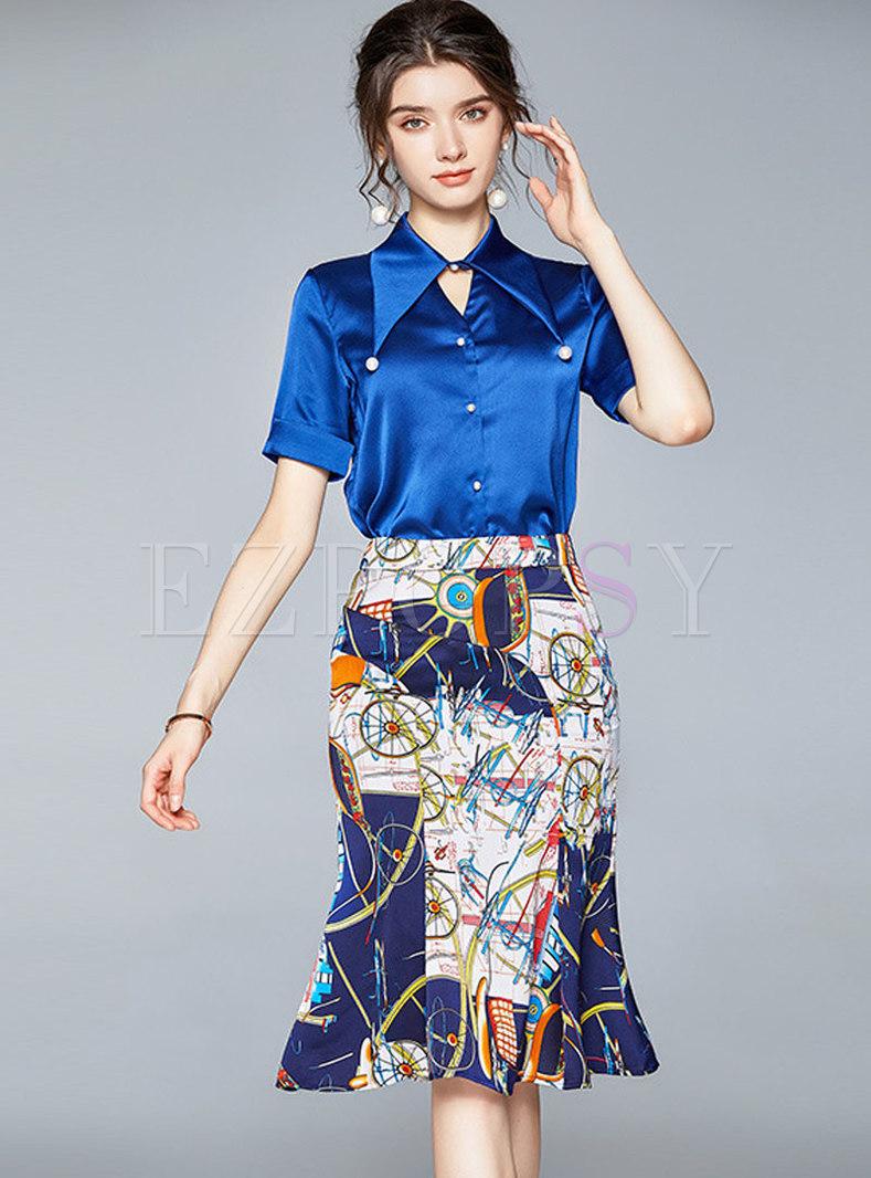 Lapel Stain Slim Shirt & Print Sheath Skirt