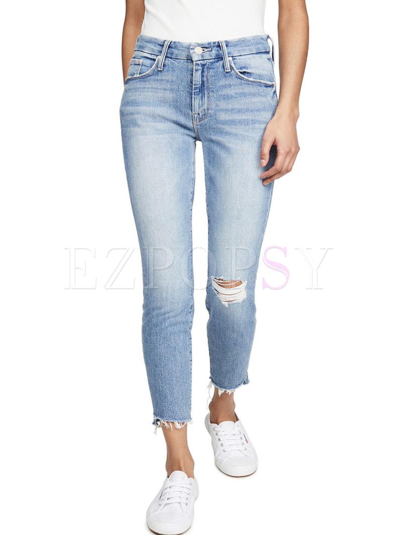 Fashion Raw Edge Slim Ripped Jeans