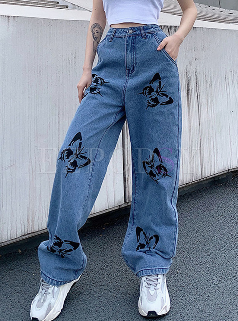 High Waisted Butterfly Print Wide Leg Jeans