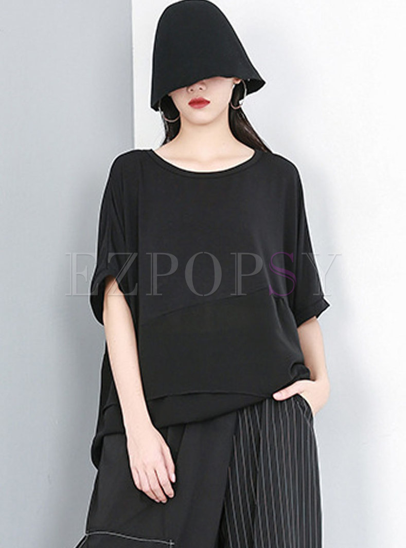 Plus Size Crew Neck Pullover Loose T-shirt