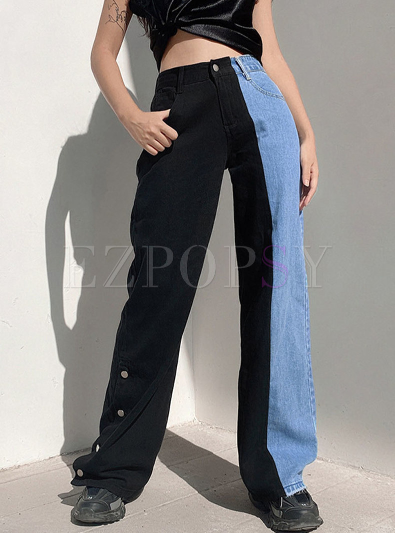 Color-blocked High Waisted Wide Leg Jeans