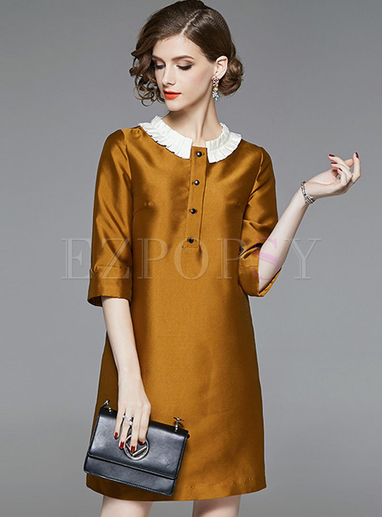 Brief Color-blocked Splicing Three Quarters Sleeve Loose Dress