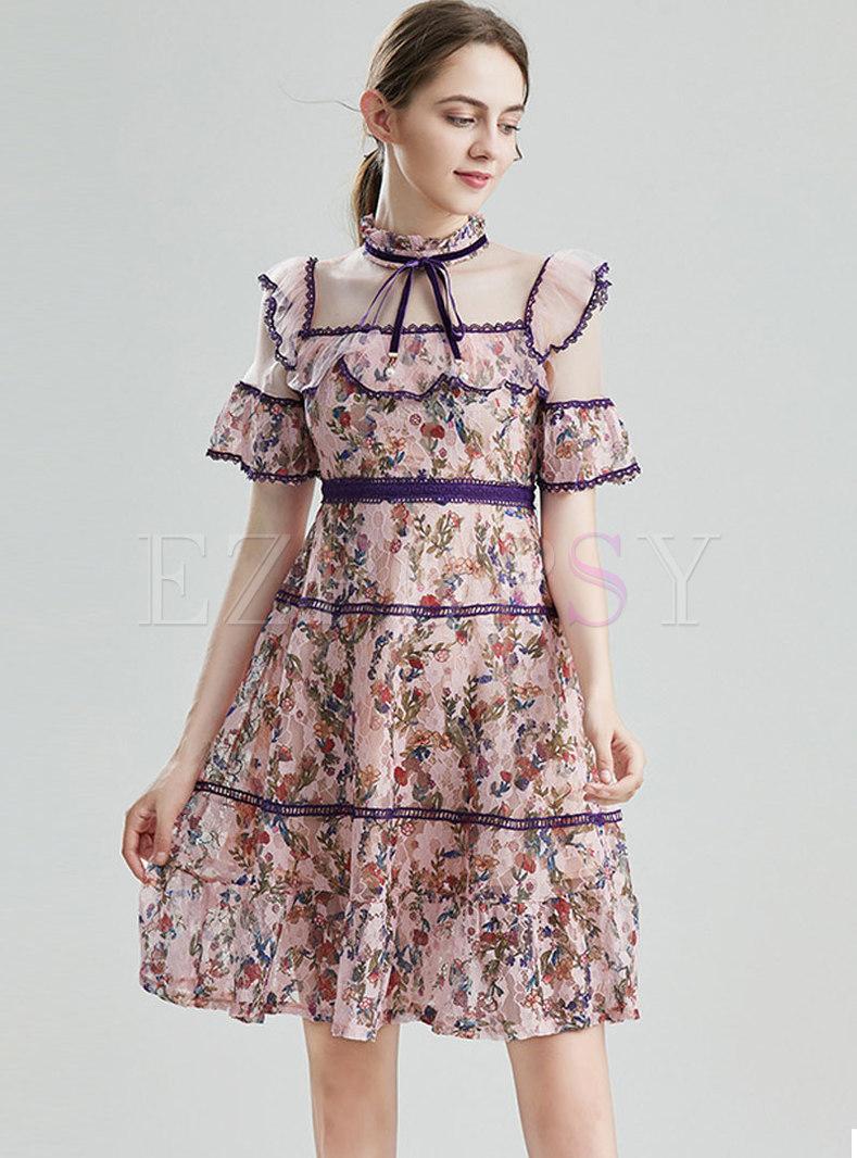 Bowknot Mock Neck Flare Sleeve Mesh Ruffle Dress