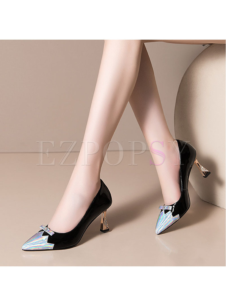 Color-blocked Pointed Toe Slow-cut Heels
