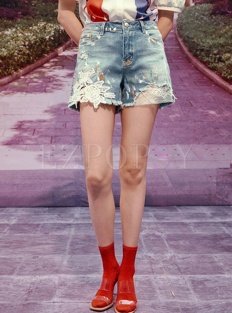 High Waisted Denim Patchwork Straight Shorts