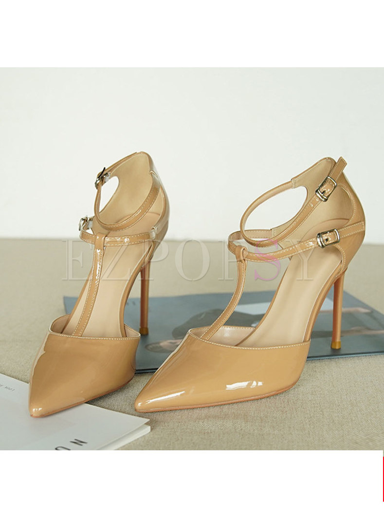 Pointed Toe Thin Heel Patent Leather Sandals