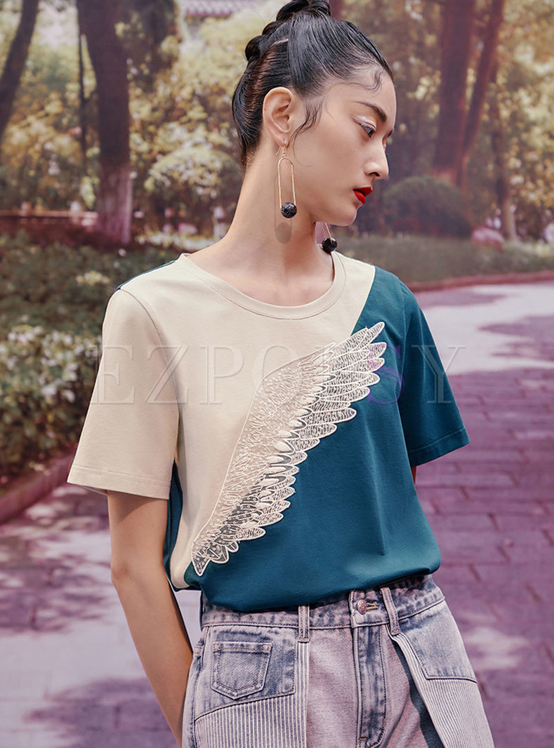 Color-blocked Pullover Lace Patchwork T-shirt