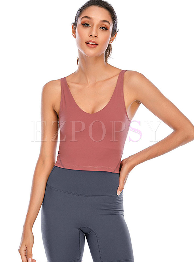 Deep U Beauty Back Shockproof Gathered Yoga Top