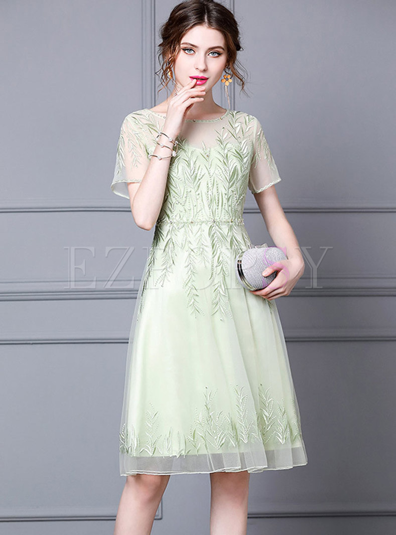 Crew Neck Embroidered Mesh Party A Line Dress