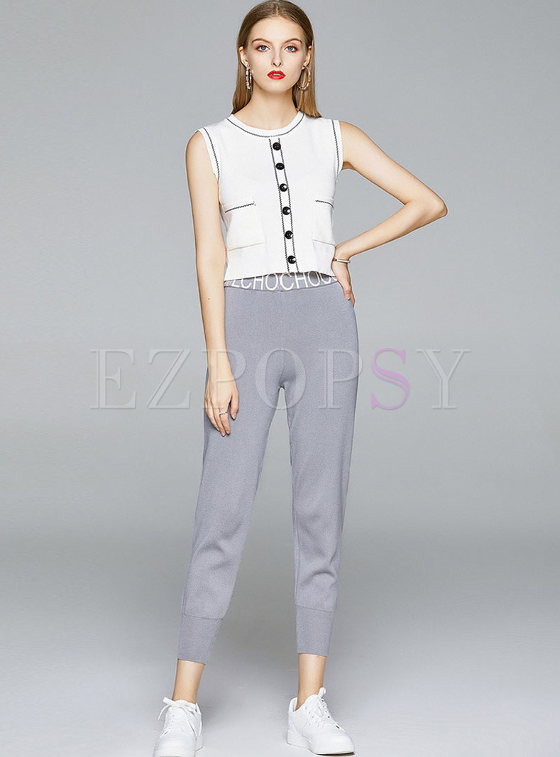 Pullover Sleeveless Knit Top & Casual Harem Pants