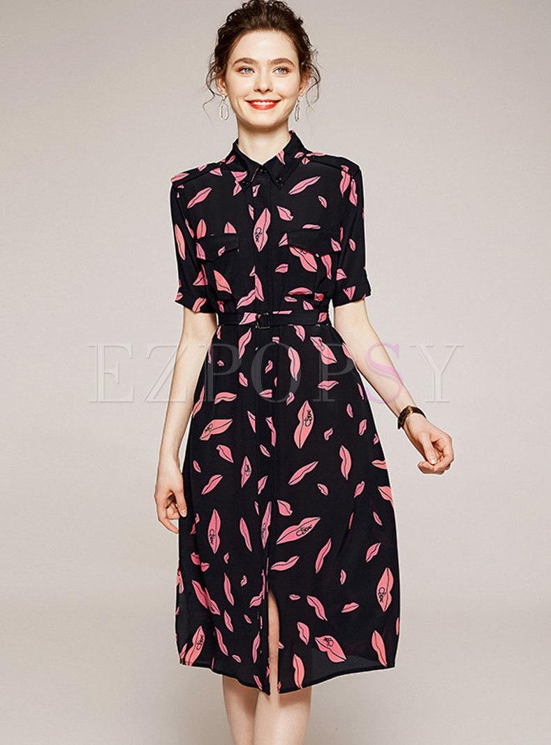 Short Sleeve Print A Line Silk Dress