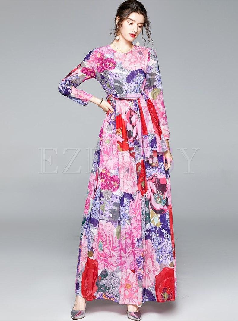 Bohemian Long Sleeve Print Chiffon Beach Maxi Dress