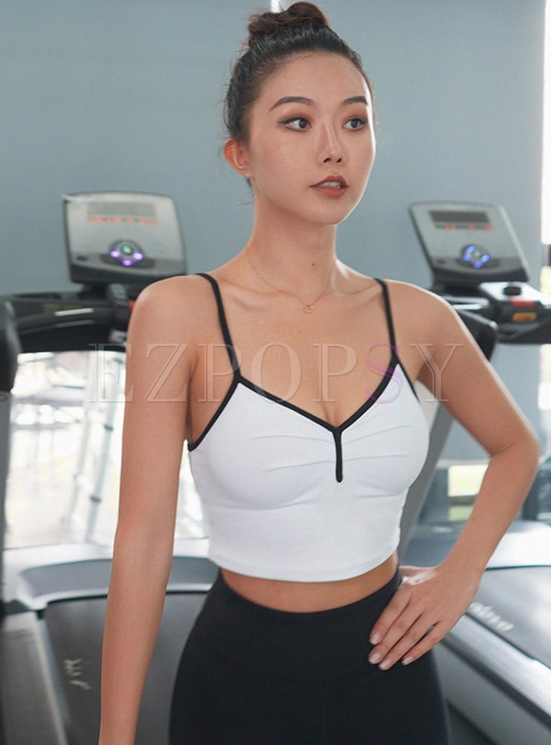 Color-blocked Tight Shockproof Sports Bra