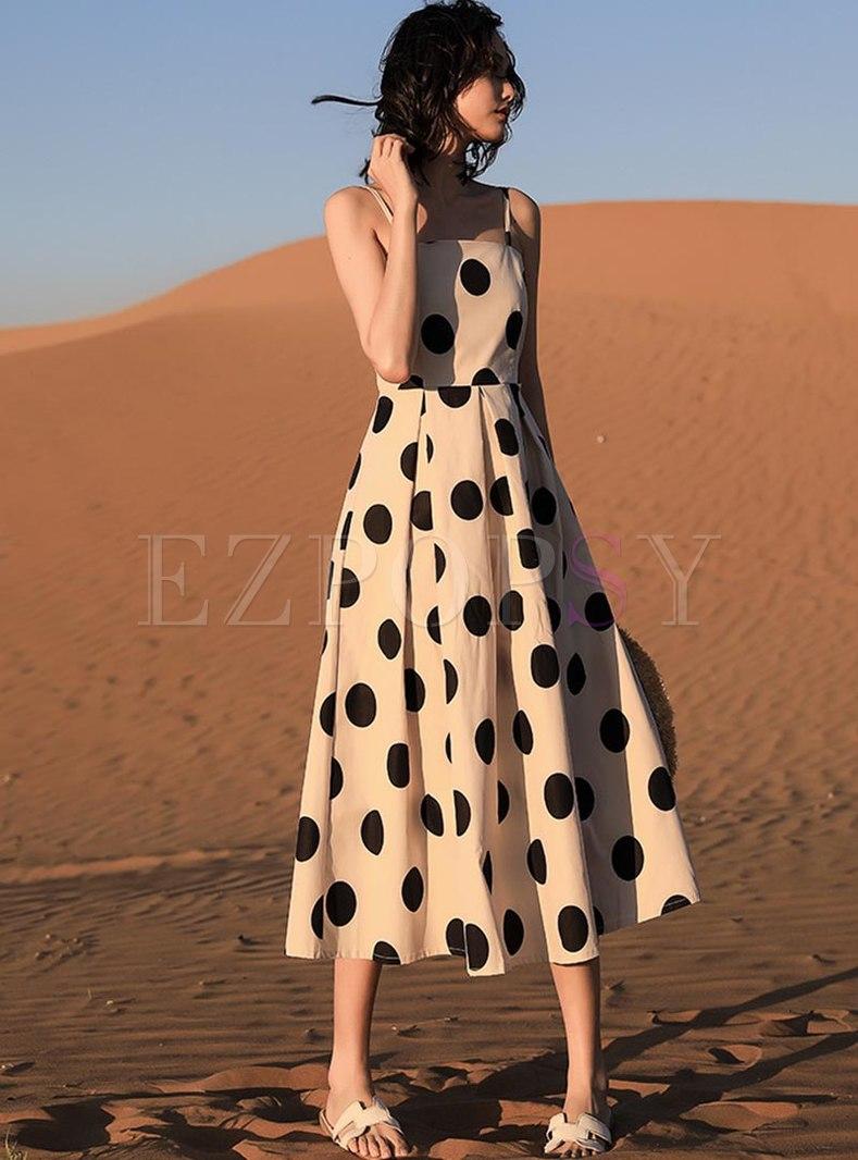 Polka Dot Sleeveless A Line Sun Dress