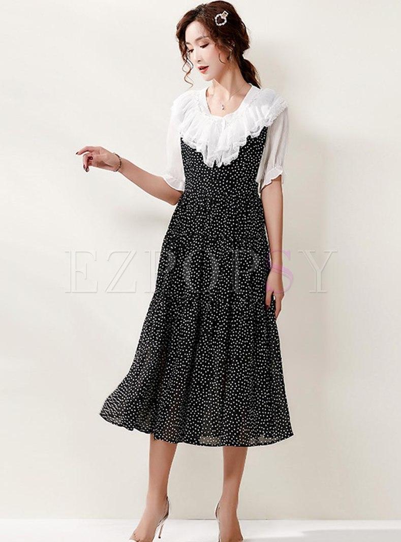 Short Sleeve Polka Dot A Line Suit Dress