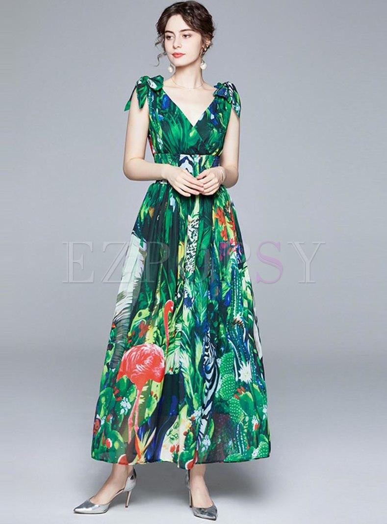 Green Print Sleeveless Chiffon Beach Maxi Dress