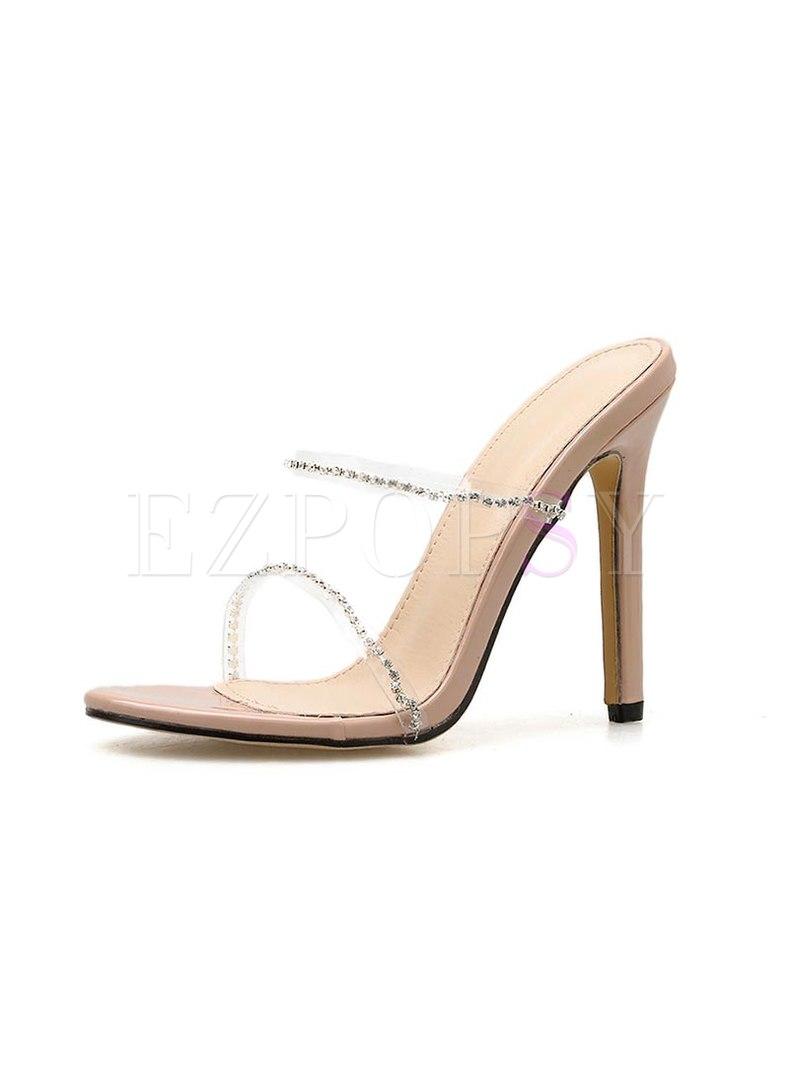 Transparent Rhinestone High Heel Slippers
