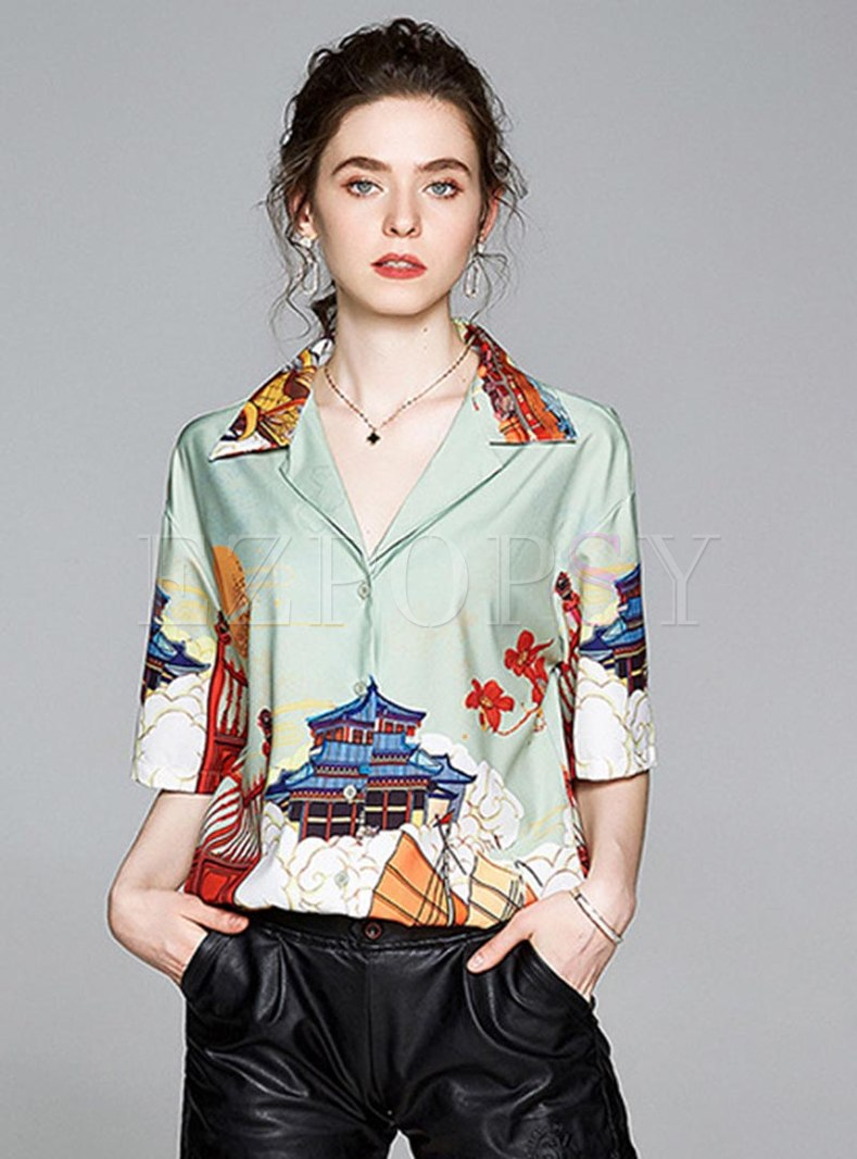 Notched Print Half Sleeve Loose Blouse