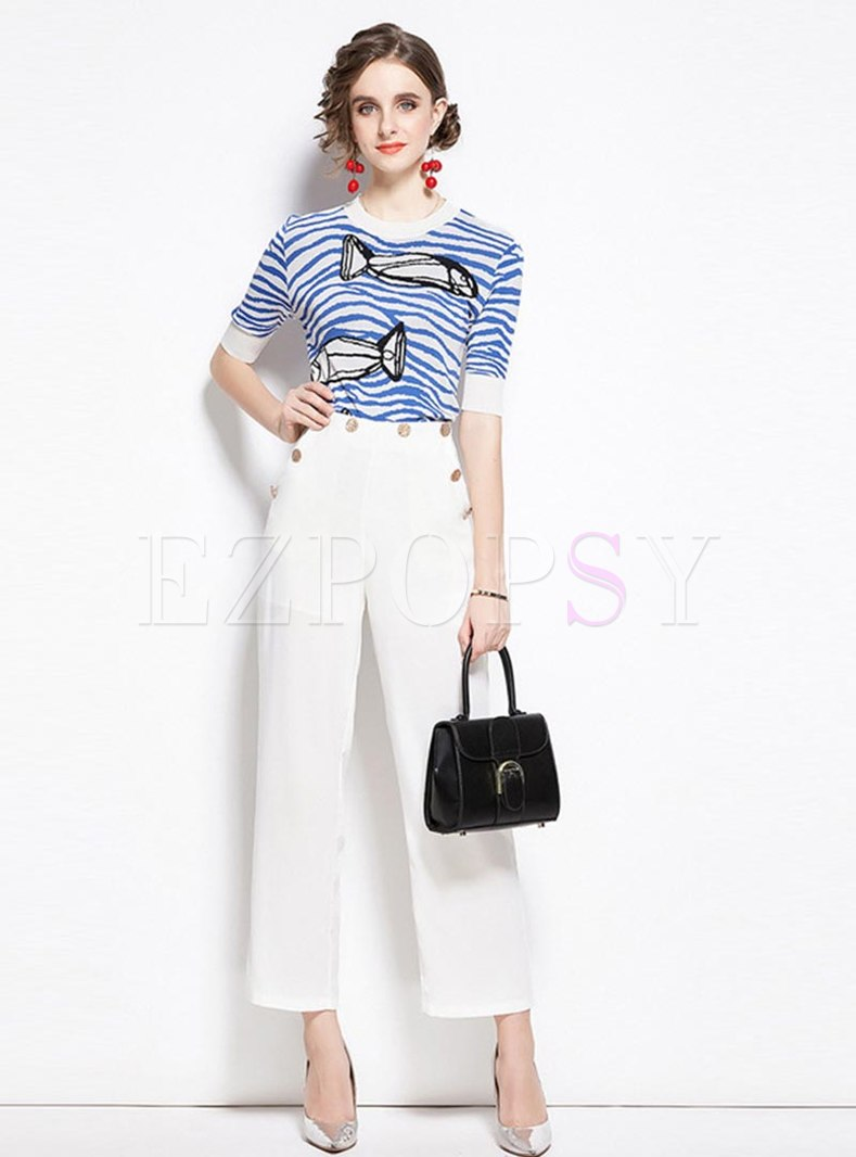 Striped Pullover Print Knitted T-shirt & Straight Pants