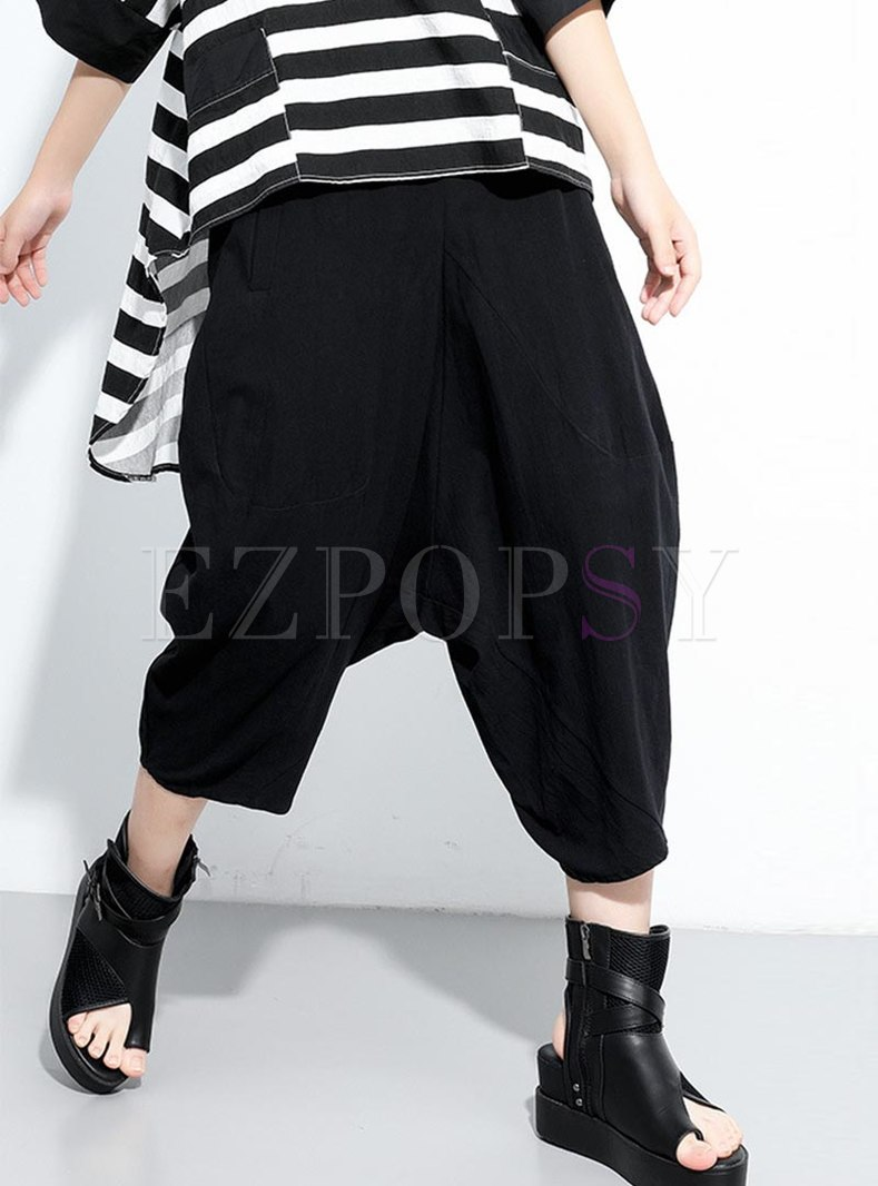 Plus Size High Waisted Cropped Harem Pants
