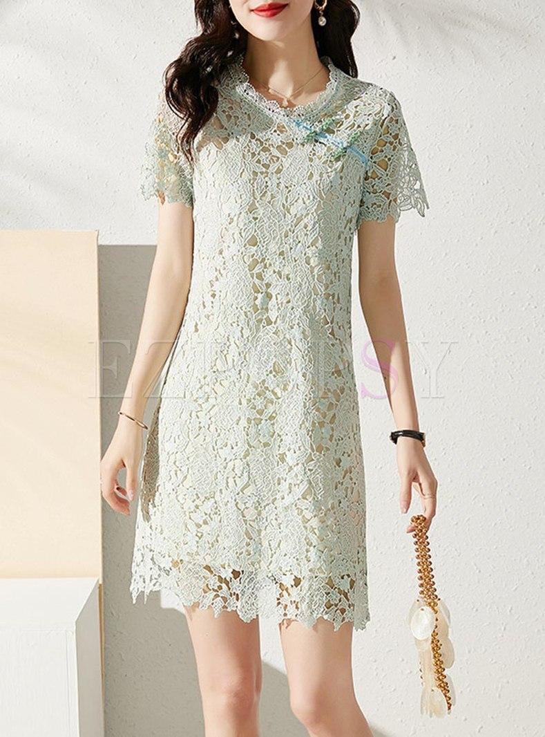 Mock Neck Openwork Lace Slim Mini Dress