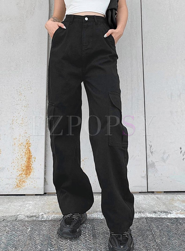 High Waisted Jean Wide Leg Pants With Pockets