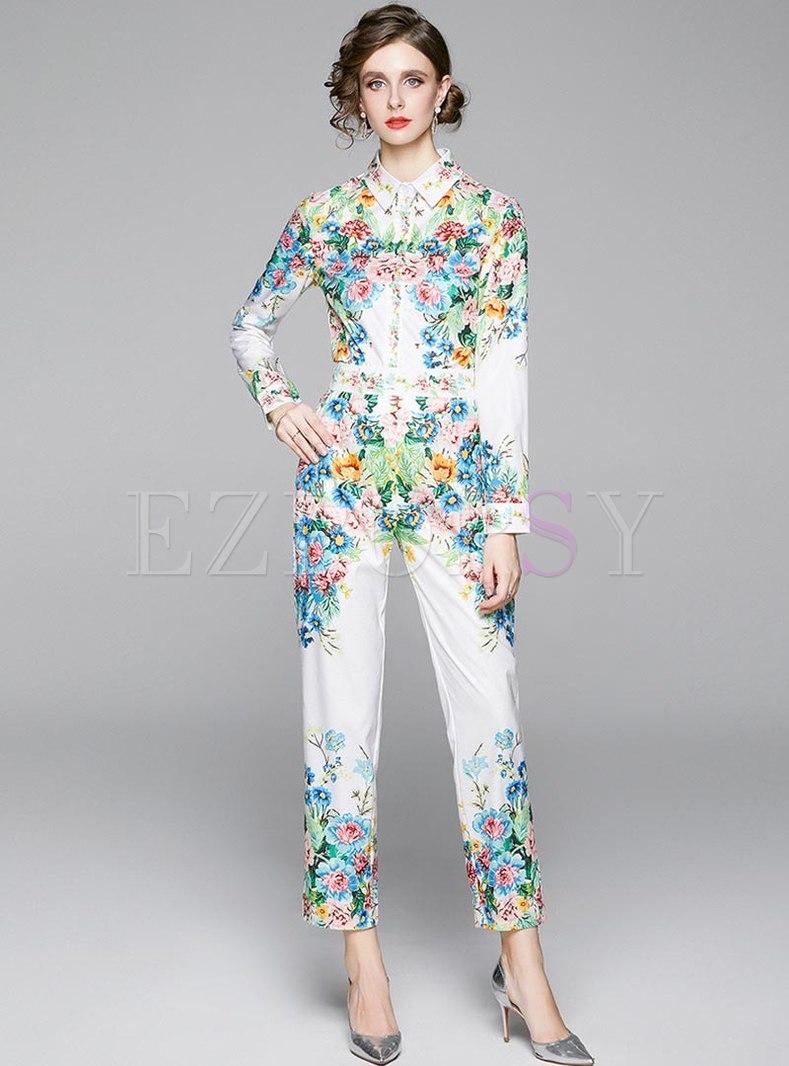 Print Long Sleeve Blouse & High Waisted Pants