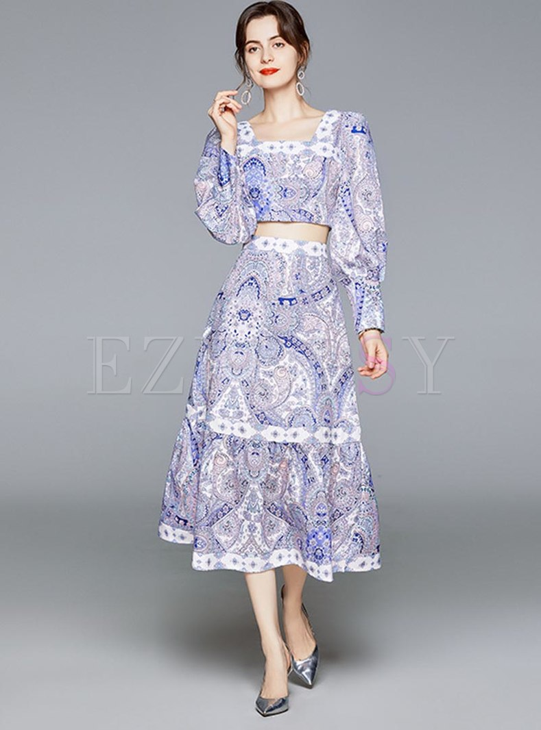 Lantern Sleeve Print High Waisted Skirt Suits