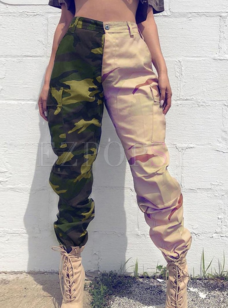 High Waisted Camouflage Patchwork Cargo Pants