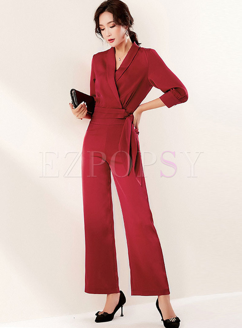 Bowknot Tied Slim Blouse & Hight Waisted Wide Leg Pants