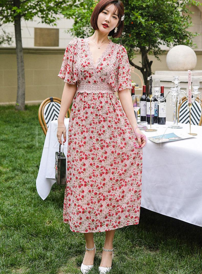 Lace Patchwork Floral A Line Maxi Dress