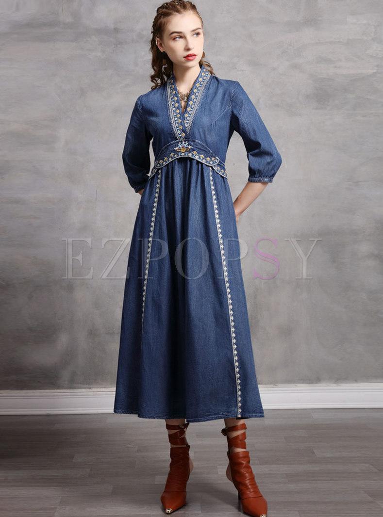 Blue V-neck Embroidered Denim Maxi Dress