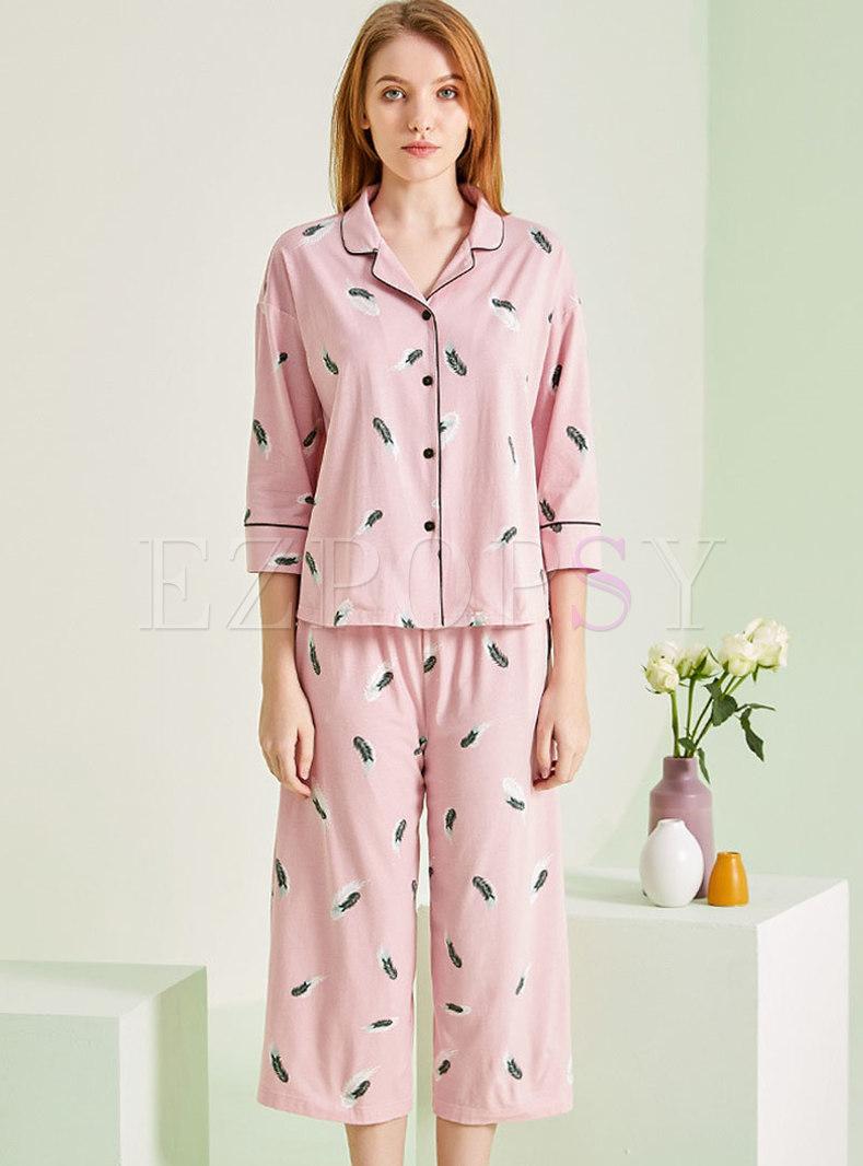 Irregular Button Down Capri Pant Pajama Set
