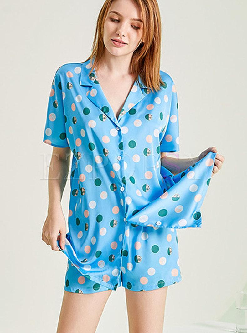 Polka Dot Button Down Shorts Pajama Set