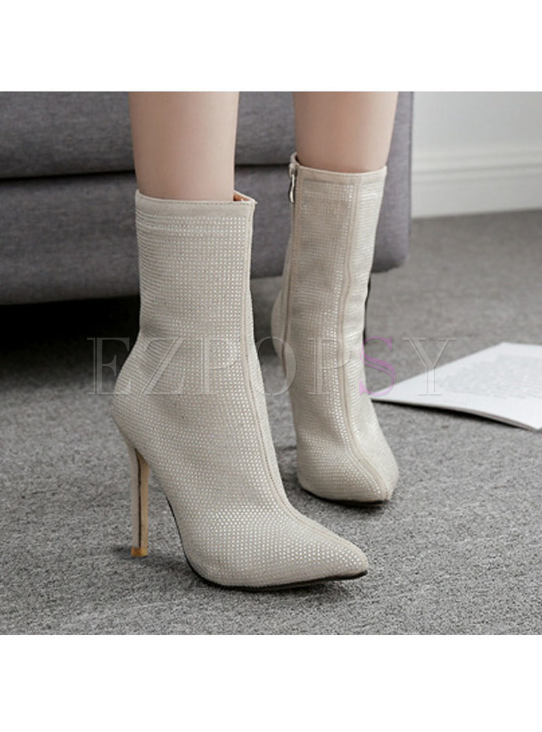 Pointed Toe Rhinestone Side Zipper Boots