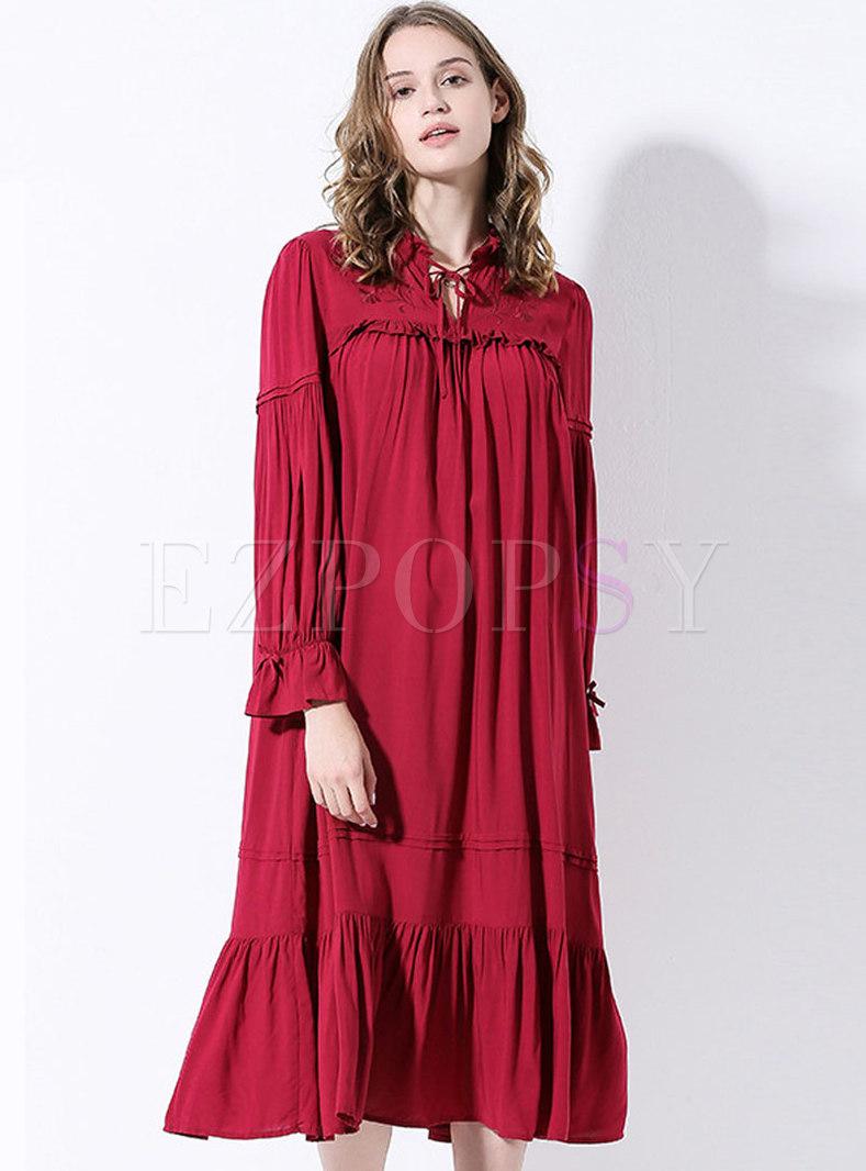 Ruffle Lantern Long Sleeve Nightgowns