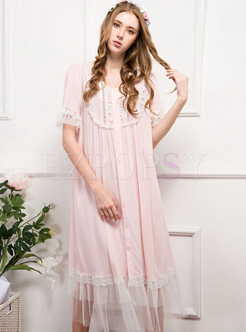 Patchwork Lace Ruffle Button Down Nightgowns
