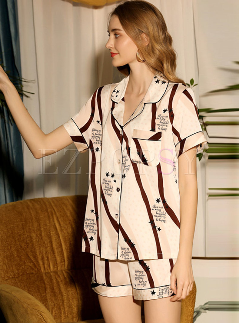 Print Button Down Shorts Pajama Set