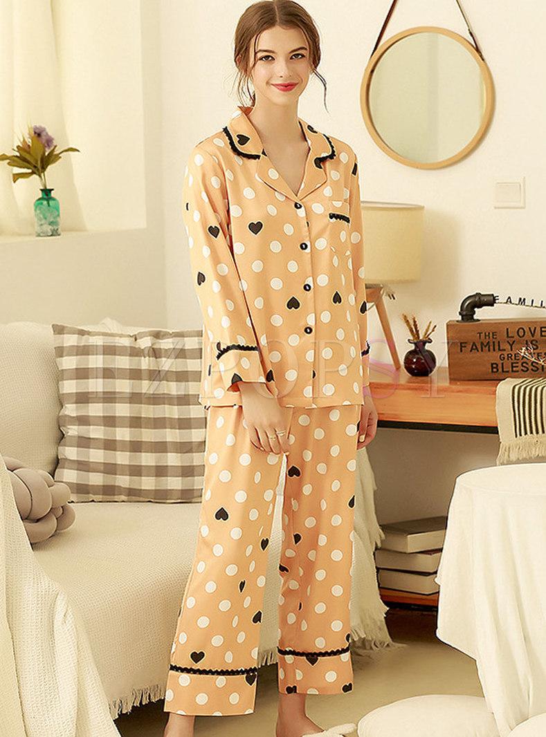 Cute Heart Print Button Down Long Pajama Set